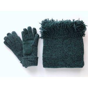 Dark Green Wool Knit Glove & Scarf Set